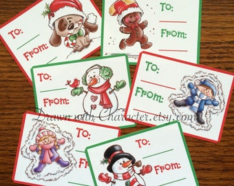 Holiday Printable Gift Tags Digital Clip Art/ KopyKake Image- PR24-HGIFT