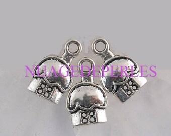3 pendant Tibetan silver mushroom house charms