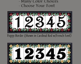 House Numbers, Address Tiles, Poppy Border Design, Framed Set, Color and Font Choices