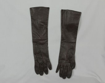 Vintage Gloves, Dark Brown/Black, Soft Leather, 15 inches long, Silk lined, Made in France, Size Medium, 7