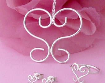 Silver Heart Jewellery Set