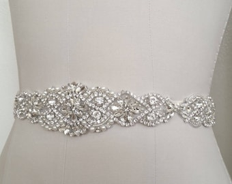 Wedding Bridal - Crystal Pearl Wedding Sash Belt = 29 inch long