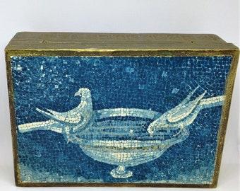 Floretine Box, Mosaic Doves, Gold Blue Florentine Box, Vintage Italian Florentine, Doves in a Bird Bath, Gold Gilt Trinket Box, Jewelry Box