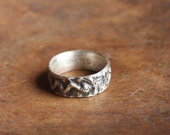 lava snake with moon | heavy oxidized sterling silver ring | men's 8.5