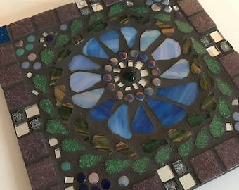 Blue Flower Mosaic Teapot Stand or Wall Plaque