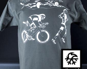 T-shirt Triathlon Ironman Road running swimming illustration by Waveslide