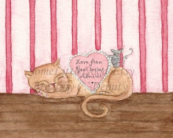 Valentine Card, Cat and Mouse Valentine Card, The Secret Admirer Blank Note card, Valentine's Day Notecard(s)