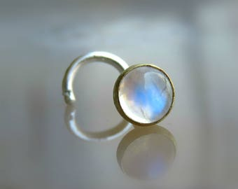 moonstone nose stud - silver nose screw - moonstone nose jewelry