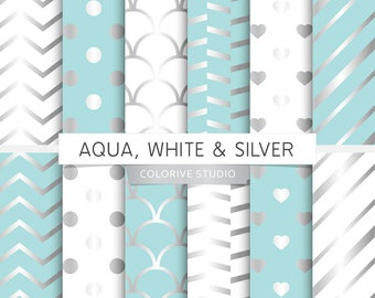 Aqua, White & Silver digital paper, aqua and silver, white and silver, scrapbook papers (Instant Download)