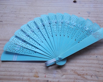 small vintage plastic blue and lace fan from 70's ...good condition