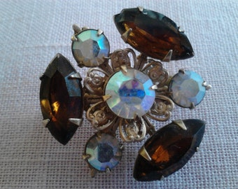 Rhinestone  Scatter Pin, Vintage Costume Jewelry Brooch  ECS