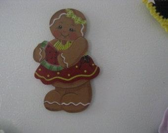 Gingerbread magnet, kitchen decor, summer decor, handpainted gingerbread magnet, gift for her, hostess gift, watermelon painting