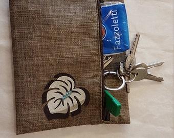 Pochette, plastic fabric, brown, personalized application
