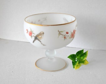 Vintage White Satin Frosted Crystal Glass Pedestal Deep Bowl Compote Candy Nut Dish, Floral and Bird Graphic