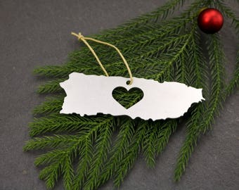 Heart Puerto Rico Christmas Ornament  Travel Winter Decor Gift for her Him America Souvenir Custom Stamping Personalized Engraving Country