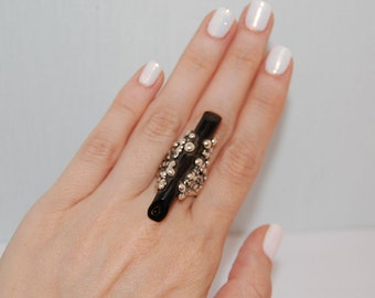 Black coral ring, Silver ring, Kreitto jewels, Handmade ring, Bubbles ring, Handmade in Greece, Stunning ring, Statement ring, Womens ring.