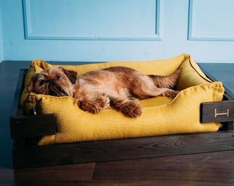 Dog bed dreamer BROWN wooden frame + MUSTARD lounger couch / Yellow Pet couches for large and small dogs / Dog mattress bed