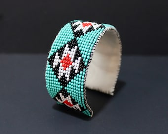 Native American Inspired Beaded Cuff Bracelet, Turquoise, Leather Cuff
