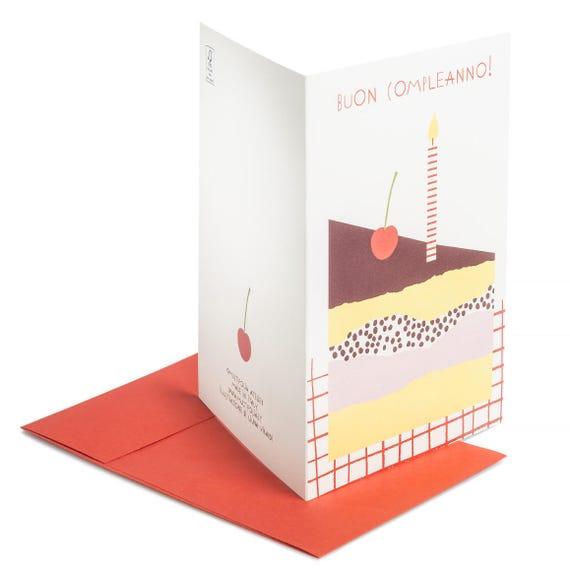 CILIEGINA SULLA TORTA. Birthday card. Cherry on the cake. Buon compleanno. La Ciliegina Sulla Torta.