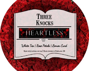 Heartless - Three Knocks Candles - Book Candle - Scented Soy Candle - 4 oz Tin