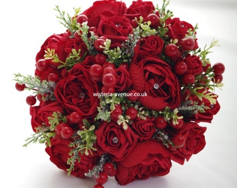 Large Artificial Winter Red Bridal Bouquet