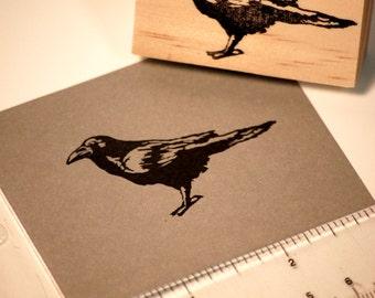 Hand carved rubber stamp - raven design.