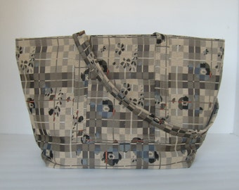 Designer Taupe/Blue Tote Bag Purse/Diaper Bag