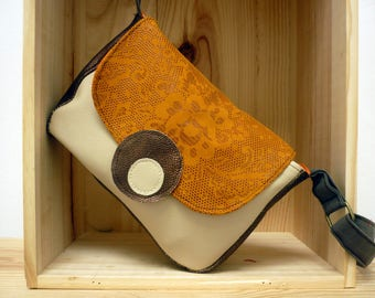 Small beige, orange and golden brown leather bag
