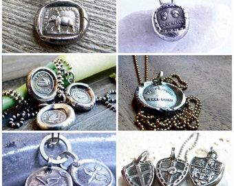 Wax Seal Jewelry, SHOP by MEANING - SYMBOLIC Necklaces, Talisman -Inspiration Charm Sterling, Antique Jewelry, Inspirational Jewelry