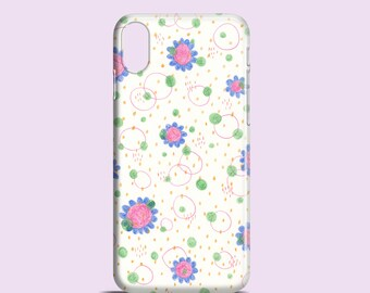 Doodles phone case / floral phone case / iPhone X / iPhone 8 / iPhone 8 Plus /  iPhone 7 case / iPhone 6S / iPhone 5/5S/se / Samsung Galaxy