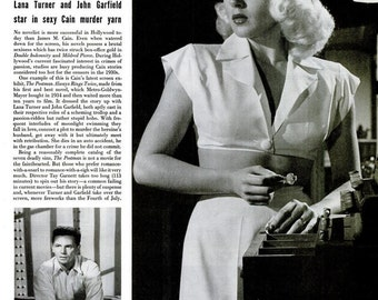 1946 Lana Turner The Postman Always Rings Twice Hollywood Film Noir Femme Fatale Article Photo Print Set & The March of Time Movie Poster Ad