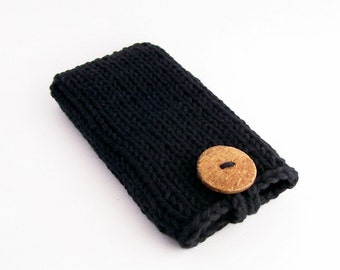 iPhone 4, 5 or 6/7 Galaxy s3, s4, s5, s6 or s7 Cotton Mobile Cell Phone Cover Black Handknit Natural Coconut Button Crochet Loop
