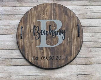 Custom serving tray|round wooden tray with handles|wedding gift|housewarming|personalized serving tray|wooden tray with last name|farmhouse