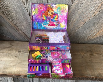 Vintage Lisa Frank Stationery Box {90s Rainbow Glitter Sticker Box} Stickers, Pencils, Envelopes, Letters. Dalmatian, Leopard. Jewelry Box