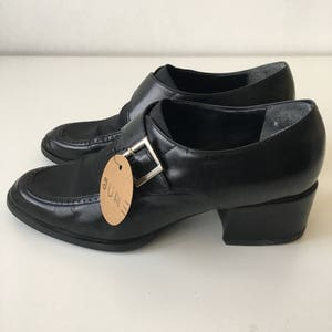 Vintage size 8 black leather 90s monk loafers women ankle shoes nine west block heel quality heel fall classic minimalist timeless granny
