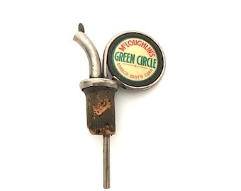 McLoughlin's Green Circle Bottle Stopper Liquor Bottle Pourer - Vintage Bar Decor - McLoughlin - Collectible - Liquor Dispenser - Display