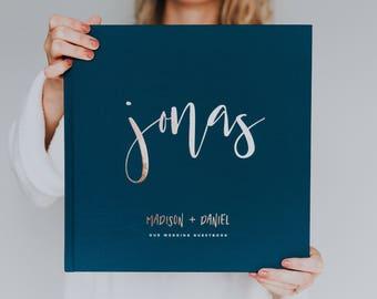 Modern Calligraphy Wedding Guest Book - Custom Guest Book, Personalized Guest Book, Wedding Gift Keepsake, Elegant Guest Book, Foil