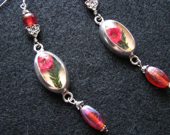 Mexican silver earrings | sterling | resin flowers | glass | pink | roses | long dangle | duster | beaded | mismatched