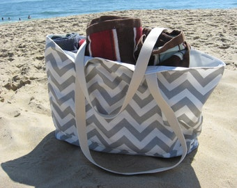 Beach Bag Extra Large - Gray & White Chevron Beach Tote - Water Resistant Lining - Interior Pocket - Beach Bags