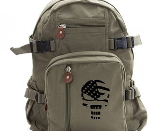 Punisher Skull with Flag Sport Heavyweight Canvas Backpack Bag Available in Medium and Large