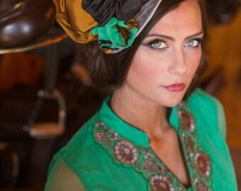 Enchanting Emerald Fascinator - Kentucky Derby Hat, Kentucky Derby Fascinator, Equestrian, Wedding, Church, Tea Hat