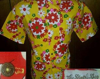 Vintage 60's The Sample Shop Hawaiian Flower Power Hippie Camp Shirt Medium Barkloth Mod