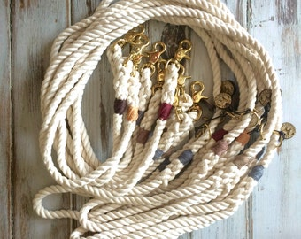 Natural 100% Cotton - Traditional Dog Leash, Dog Lead, Rope Lead, Rope Leash, White Rope Leash, Handmade Rope Leash, Dog Gift