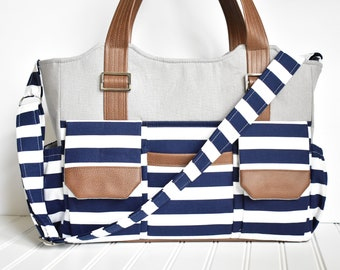 Modern Navy Stripe Diaper Bag with Vegan Leather and Gray Nautical Bag with Messenger Strap READY TO SHIP