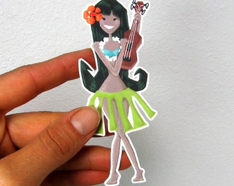 Hula Dancer Girl Hawaiian Vinyl Sticker Decal Car iPhone or Craft Waterproof Durable