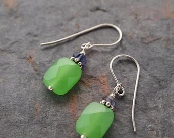 Citrine and Green Quartz Earrings, Turquoise, Greenery, Iolite and Green Quartz, Quartz Earrings, Small Earrings, November Birthstone