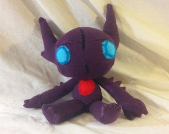 Sableye– 11 inches (about 7 sitting) – Made from recycled clothing