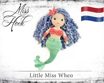 """Haakpatroon voor de pop """"Little Miss Wheo"""" zeemeermin eBook PDF (dutch)"""