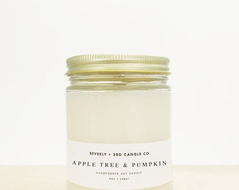 APPLE TREE & PUMPKIN Candle, Wood Wick Candle, Fall Candle, Soy Candle, Pumpkin Scented, Green Apple Scented | Wholesale, Bulk Order