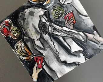 Plague Mask Costume Party - Print of Original Watercolor and Ink Painting by Jen Tracy - No Sleep Podcast Cover